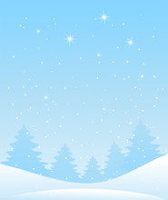 Winter Forest Landscape. Christmas Background For Greeting Card. Blue Sky With Snow And Stars, Snowy Forest. Vector Illustration In Flat Cartoon Design.