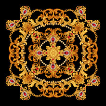 Design Of Silk Scarf With Ruby Gem Stones And Golden Scrolls On Black Background