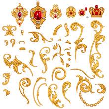 Set Of Golden Jewelry Scroll E...