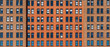 canvas print picture - Banner and cover scene of Brown Brick high building facade with windows in New York City, United states of America, USA, Industrial Background and texture, Loft inspiration. Construction facade,