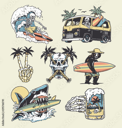 A set of edgy surf and beach illustrations Canvas-taulu