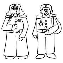 Two Men In Uniform. Line Art F...