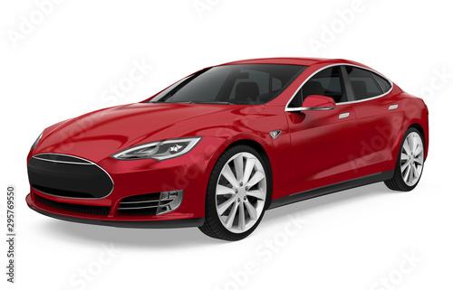 Fototapeta Red Sedan Car Isolated obraz