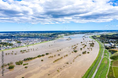Obraz 台風により増水した利根川中流域 - fototapety do salonu
