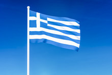 Waving Flag Of Greece On The B...