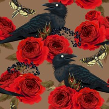Seamless Pattern With Raven, Hawk Moths And Roses