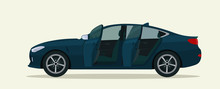 Sedan Car With Open Doors. Vector Flat Style Illustration.