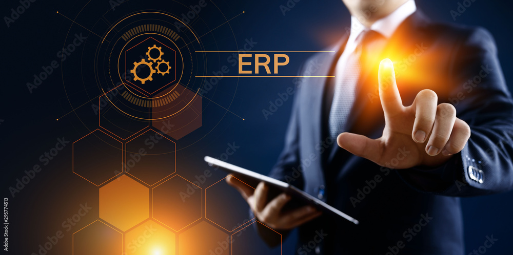 Fototapeta ERP Enterprise resources planning system software business technology.