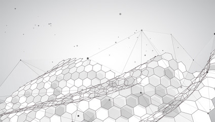 abstract vector background with hexagons. 3d design virtual world.