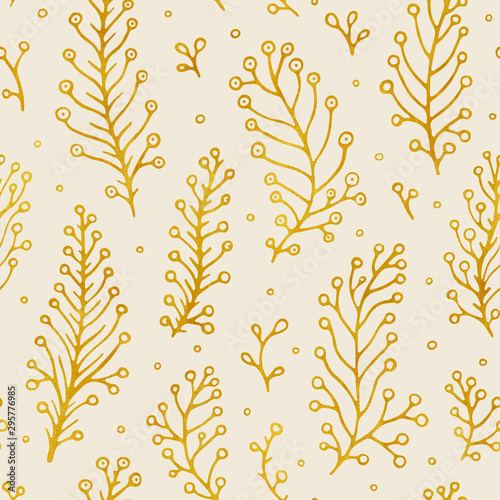 Fotobehang Boho Stijl Folk flowers vintage raster seamless pattern. Ethnic floral motif beige hand drawn background. Contour golden inflorescence, blossom. Blooming, plant leaves. Ditsy textile, wallpaper design.