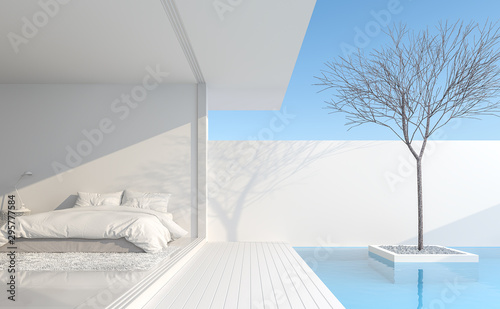Leinwand Poster  Minimalist bedroom In a private residence Modern style with pure white Beside the bedroom there is a balcony next to the pool