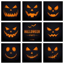Pumpkin Face Set, Decoration For Halloween Celebration.