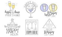 Happy Hour Hand Drawn Retro Labels Set, Free Drinks, Cocktails Monochrome Badges Vector Illustration