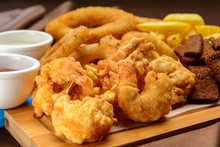 Shrimp In Batter With Fried Po...