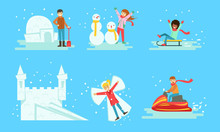 Winter Activities Set, People Building Icy Igloo And Castle, Making Snowman, Riding Snow Scooter, Sledding Vector Illustration