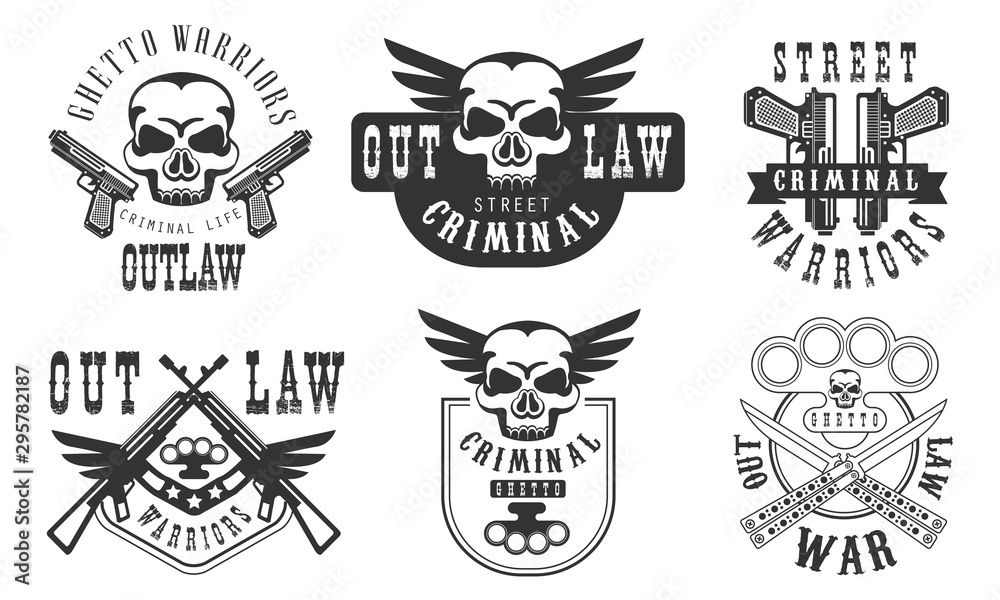 Valokuva Outlaw Street Criminal Retro Labels Set, Welcome to the Ghetto Black Badges Vect