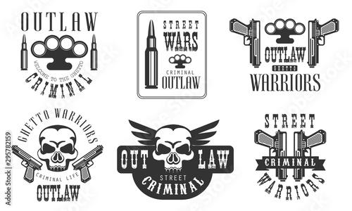 Outlaw Street Criminal Retro Labels Set, Ghetto Warriors Black Badges Vector Ill Tablou Canvas
