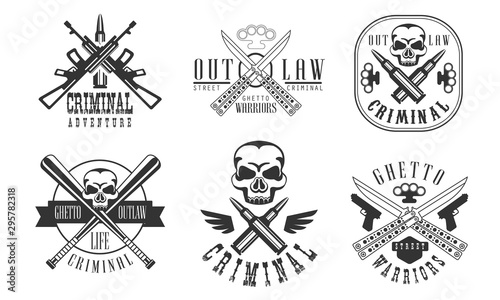 Valokuvatapetti Outlaw Street Criminal Retro Labels Set, Ghetto Warriors Black Badges Vector Ill