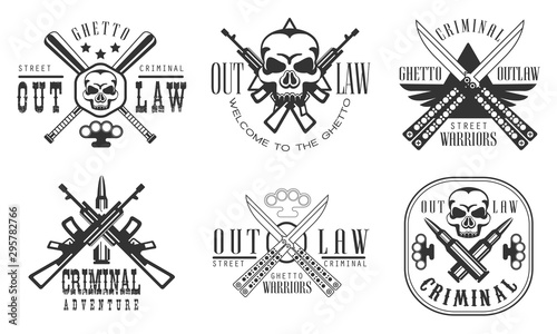 Outlaw Ghetto Criminal Retro Labels Set, Street Warriors Black Badges Vector Ill Fototapeta