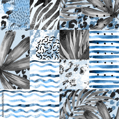 Deurstickers Grafische Prints Hand painted water color palm leaves, stripes, animal print, doodles, grunge and watercolour textures geometric background