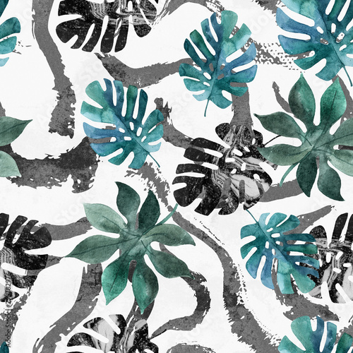 Deurstickers Grafische Prints Abstract unusual summer background. Watercolor tropical leaves, paint textured brush strokes, lines, smears, stripes