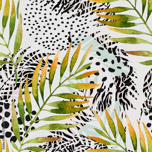 Deurstickers Grafische Prints Watercolor palm leaves and geometric background: triangles, doodle, gradient texture, 80s 90s shapes, memphis elements, animal print stripes