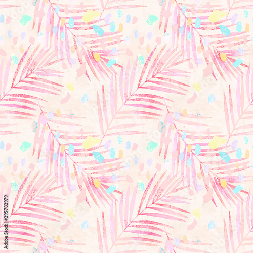 Printed kitchen splashbacks Watercolor Nature Artistic watercolor palm leaves, pastel colored confetti seamless pattern