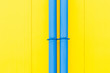 canvas print picture - Colourful composition. Blue water-pipes on juicy yellow background.