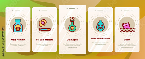 Fotomural  Chemical Toxic Poison Onboarding Mobile App Page Screen Vector Icons Set Thin Line