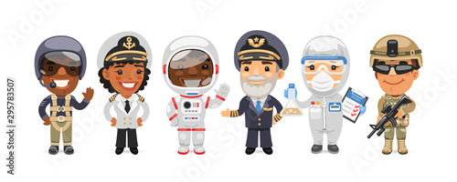 A group of people with different professions stand on a white background. Soldier, ship captain, astronaut, scientist and pilots. Flat style cartoon characters.