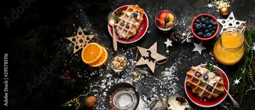 Fototapeta Christmas breakfast with waffles. obraz