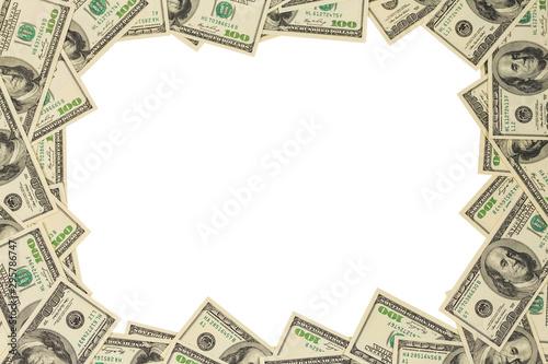 United States one hundred dollar banknote frame mockup isolated on white backgro Wallpaper Mural