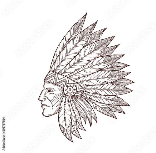 Fotografía Indian chief head native American headdress sketch