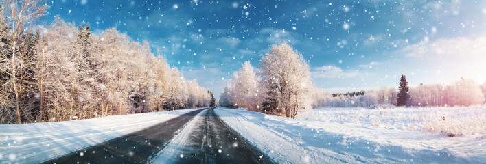winter road, covered with s...