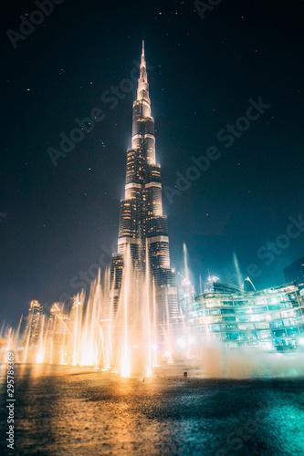 Beautiful night Dubai fountain view Wallpaper Mural