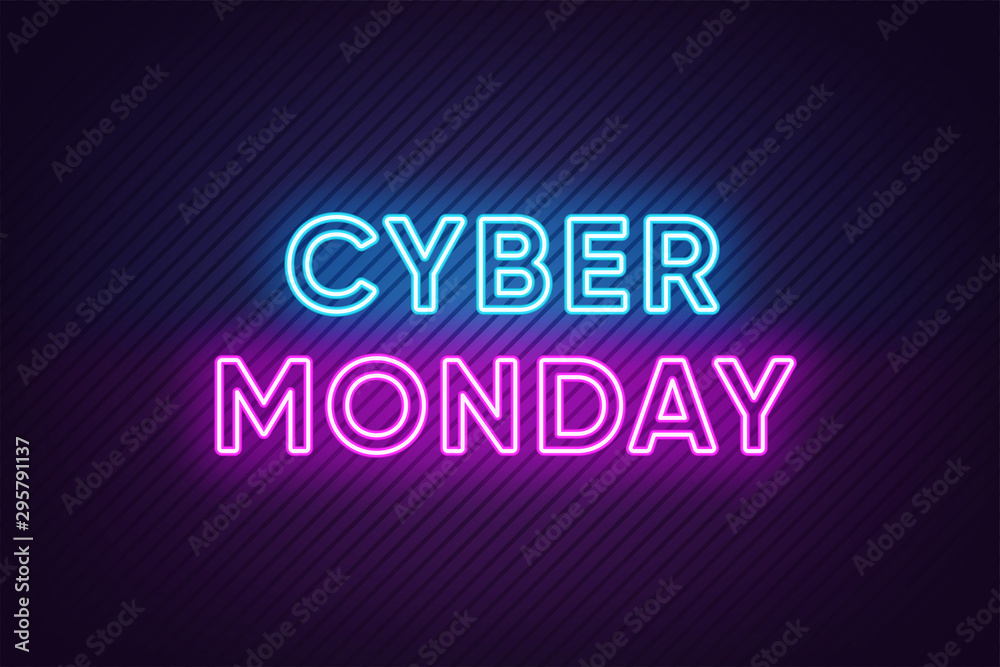 Fototapeta Neon Cyber Monday Banner. Text and Title of Cyber Monday