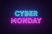 Neon Cyber Monday Banner. Text...