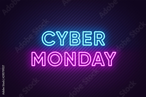 Fotografía  Neon Cyber Monday Banner. Text and Title of Cyber Monday