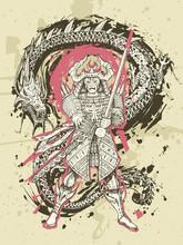 Dragon And Japanese Samurai Battle, Hand Drawn Fantasy Art. Snake Vs Warrior Tattoo. Vector Illustration.