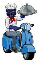 A Panther Chef Mascot Delivering Food On A Scooter