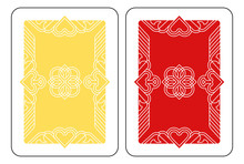 A Playing Card Reverse Back In Yellow And Red From A New Modern Original Complete Full Deck Design. Standard Poker Size.