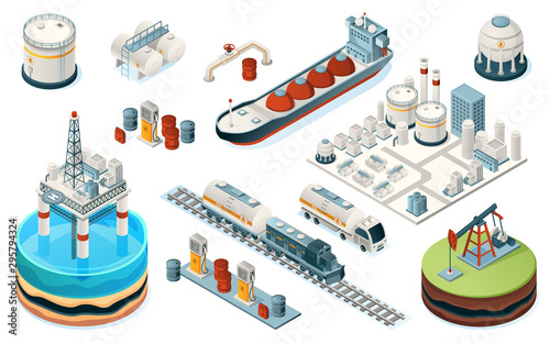 Fototapeta Set of isolated oil industry equipment. Isometric icons for fuel, gasoline and petrol production. Plant and pipe, sea platform and tanker, train and truck, pump, gas station, tank. Industrial factory obraz