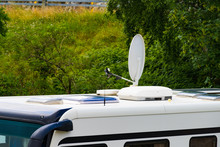 Satellite Dish On Roof Of Camper Van