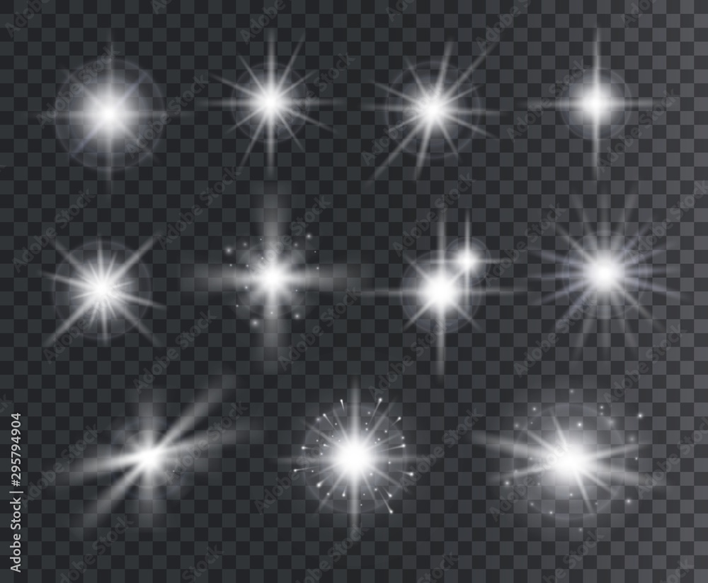 Fototapety, obrazy: Light effect. White star sparks, bright flare with rays. Magic glowing dust particles. Christmas abstract elements isolated vector set. Illustration magic flare, sparkle vibrant christmas star
