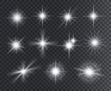 Light Effect. White Star Spark...