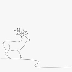 Christmas background with deer vector illustration