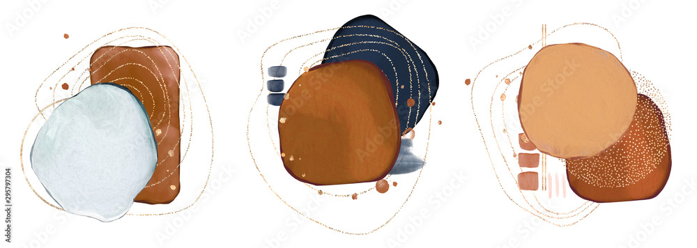 Fototapeta watercolor Illustration and gold,  isolated on white background. Abstract modern  print. logo