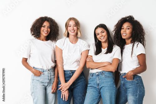 Obraz Optimistic cheery young women multiracial friends - fototapety do salonu