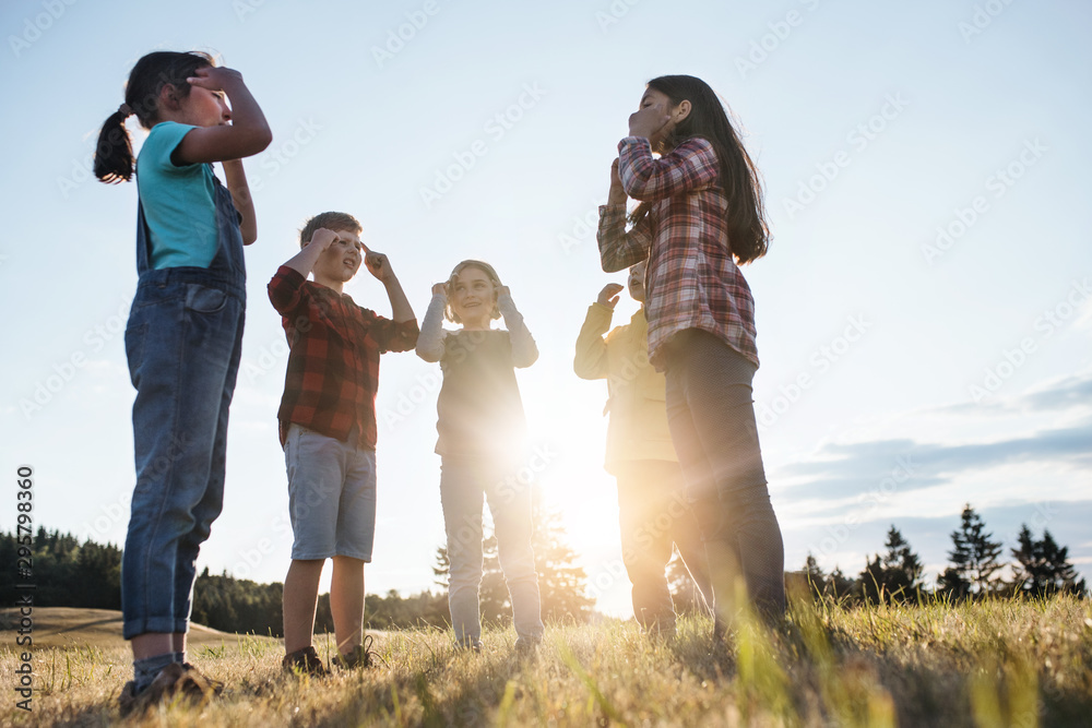 Fototapety, obrazy: Group of school children standing on field trip in nature at sunset, playing.