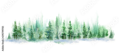 Foto auf AluDibond Weiß Green landscape of foggy forest, winter hill. Wild nature, frozen, misty, taiga. watercolor background